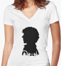 Sherlock Portrait Women's Fitted V-Neck T-Shirt