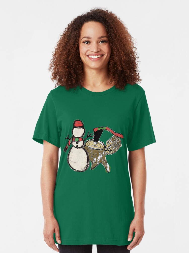 Alternate view of Snowman at the Woodpile Slim Fit T-Shirt
