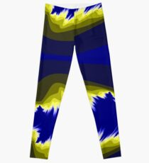 Yellow and blue fractals pattern, simple design Leggings