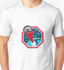 Pipe Wrench Rocket Booster Blasting Space Hexagon Retro Unisex T-Shirt