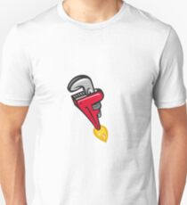 Pipe Wrench Rocket Booster Blasting Off Retro Unisex T-Shirt