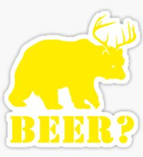 Beer T-Shirt Bear Plus Deer Funny TEE Drinking College Humor Party Shirt Sticker