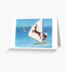 Wind Sailing Santa Greeting Card