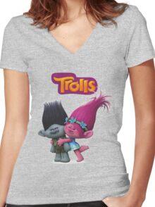 trolls Women's Fitted V-Neck T-Shirt