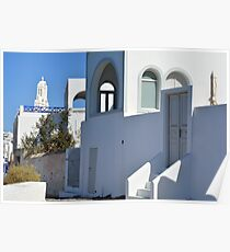 White architecture in Santorini, Greece Poster