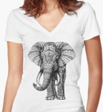 Ornate Elephant Fitted V-Neck T-Shirt