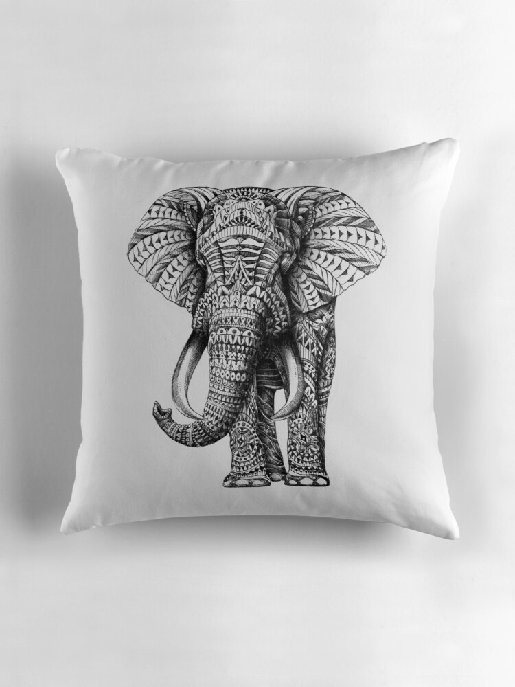 Quot Ornate Elephant Quot Throw Pillows By Bioworkz Redbubble