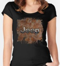Rustic Jeep with chrome typograph Women's Fitted Scoop T-Shirt