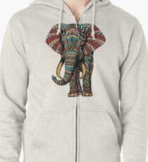 Verzierter Elefant (Farbversion) Hoodie mit Reißverschluss