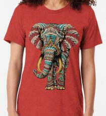 Verzierter Elefant (Farbversion) Vintage T-Shirt
