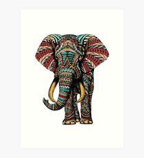 Ornate Elephant (Color Version) Art Print