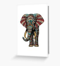 Ornate Elephant (Color Version) Greeting Card