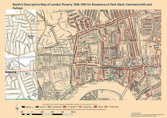 Booth 39 S Map Of London Poverty For Ravenscourt Ward Hammersmith