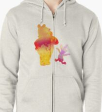 Bear and Pig Inspired Silhouette Zipped Hoodie