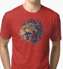 Camiseta de tejido mixto Leopard adornado (Versión en color)