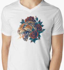 Camiseta para hombre de cuello en v Leopard adornado (Versión en color)