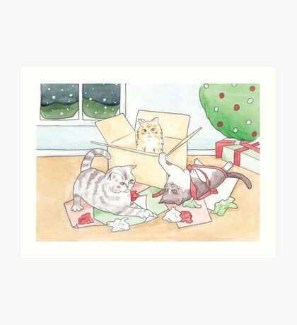 Christmas Cats // Watercolour illustration of cats playing with wrapping paper & boxes Art Print