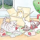 Christmas Cats // Watercolour illustration of cats playing with wrapping paper & boxes by arosecast