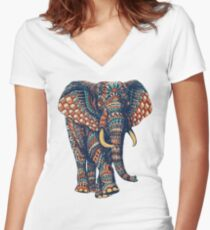Ornate Elephant v2 (Color Version) Women's Fitted V-Neck T-Shirt