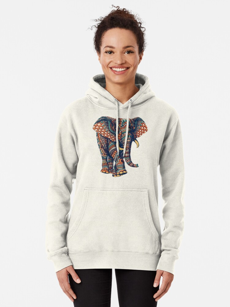 Alternate view of Ornate Elephant v2 (Color Version) Pullover Hoodie