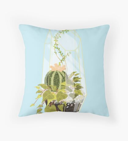 Blue Terrarium Throw Pillow