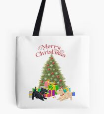 Wheaten and Black Scottish Terriers at Christmas Tote Bag