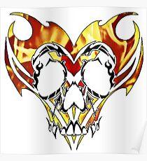 flaming tribal skull Poster