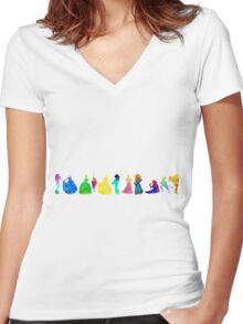 11 Princesses Inspired Silhouette Women's Fitted V-Neck T-Shirt