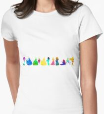 11 Princesses Inspired Silhouette Women's Fitted T-Shirt