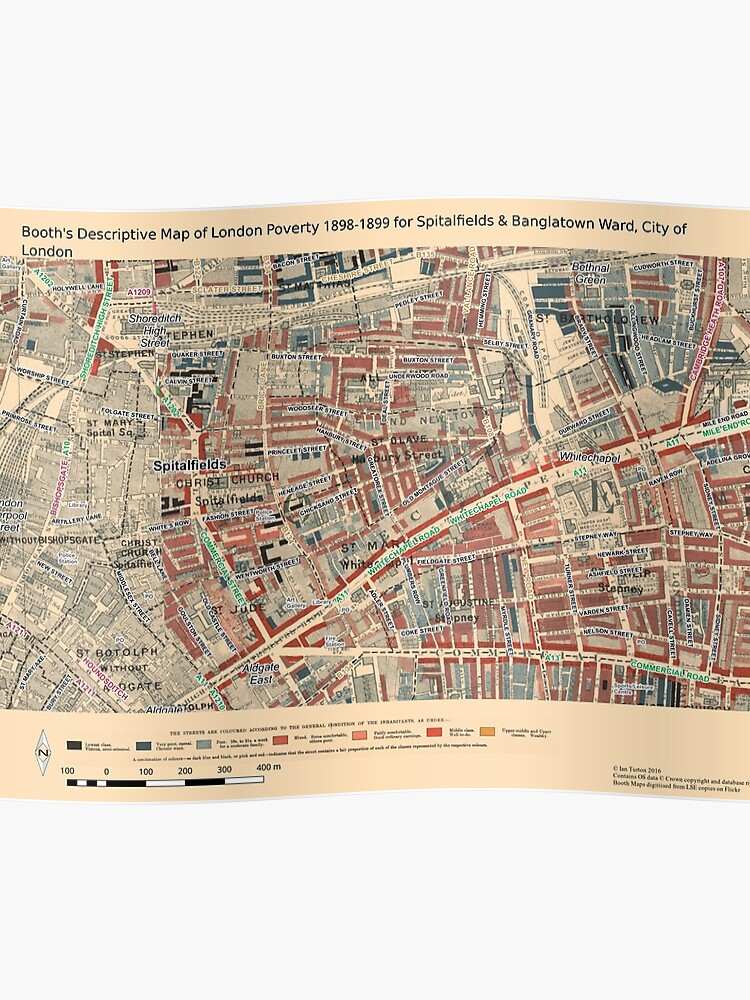 Map Of City Of London.Booth S Map Of London Poverty For Spitalfields Banglatown Ward City Of London Poster