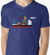 Cargo Tetris Ship Men's V-Neck T-Shirt