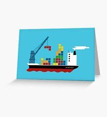 Cargo Tetris Ship Greeting Card