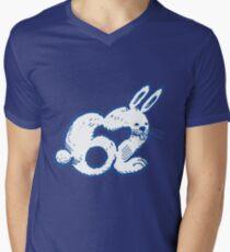 rabbit number 62 cartoon blue contour Men's V-Neck T-Shirt