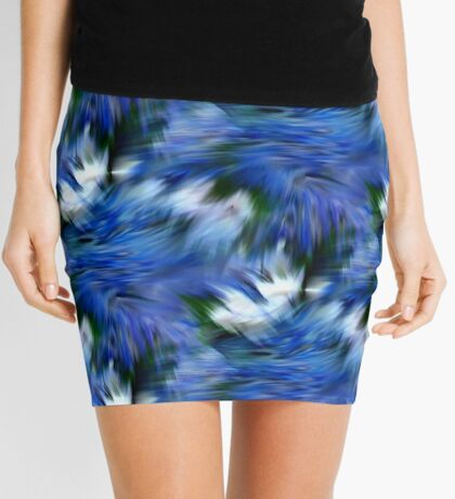 Abstract Blue And White Strokes Mini Skirt