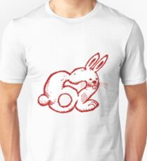 rabbit number 62 cartoon red contour Unisex T-Shirt