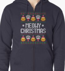 Ugly Christmas Sweater - Cat Zipped Hoodie