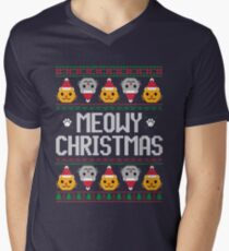 Ugly Christmas Sweater - Cat Men's V-Neck T-Shirt