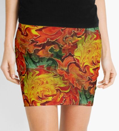 Abstract Orange Yellow And Green Colors Mini Skirt