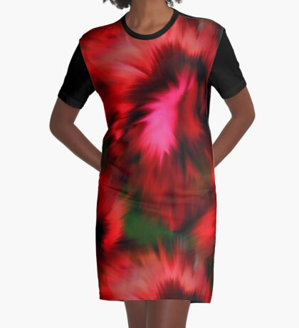 Vibrant Red Pink And Green Abstract Colors Graphic T-Shirt Dress