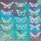 Blue Butterfly Collage by Carolynne
