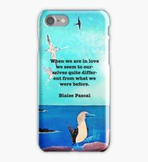 When We Are In Love Inspirational Quote With Blue Ocean Flying Birds Painting iPhone Case/Skin