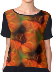 Orange Brown And Green Abstract Colors Women's Chiffon Top