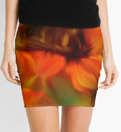 Orange Brown And Green Abstract Colors Mini Skirt
