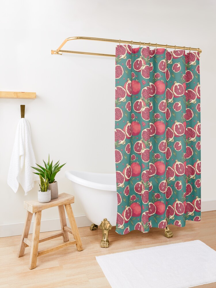 Alternate view of Juicy pomegranate fruits Shower Curtain