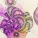Tangle Art Pattern Love Colored I von Diana Linsse