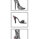 3 shoe doodles by Jacqueline Eden