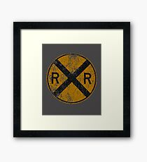 Distressed Railroad Crossing Sign Very Cool Vintage Framed Print