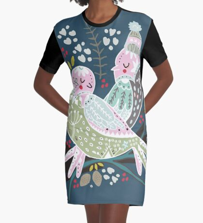 Holiday Birds Love II Graphic T-Shirt Dress