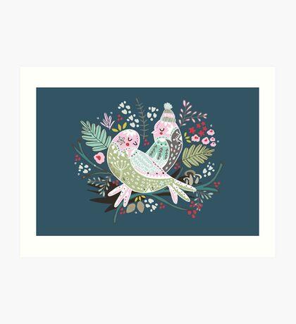 Holiday Birds Love II Art Print