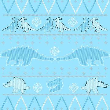 Dinosaur Ugly Christmas Sweater by PHOSPHORUS